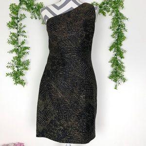 Aidan Maddox Designer Gold and Black Dress